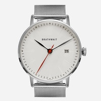 A photo of the automatic stainless steel watch with a stainless steel mesh strap sold by Brathwait.