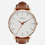 An image of the classic stainless steel slim wrist watch with a brown top-grain Italian leather strap sold by Brathwait.