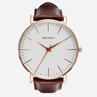 An image of Brathwait's rose gold classic slim watch featuring a dark brown Italian leather strap.