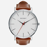 An image of the classic stainless steel slim wrist watch with a brown top-grain Italian leather strap.